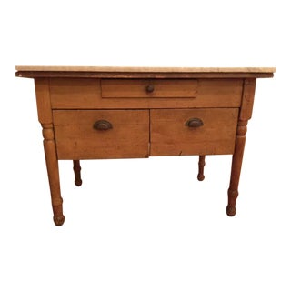 Antique Marble Top Farmhouse Table For Sale