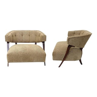 Pair of Large-scale Button Tufted Billy Haines Style Lounge Chairs