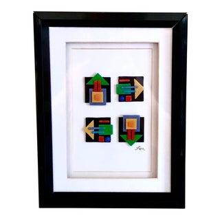 1980s Vintage Framed Modern Blown Art Glass by Farr For Sale