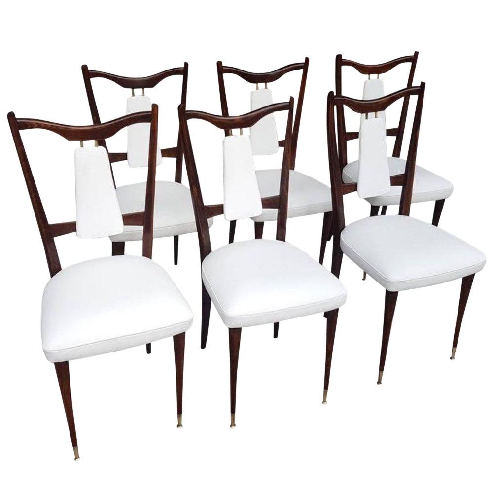 1960s Vintage Italian Dining Chairs - Set of 6
