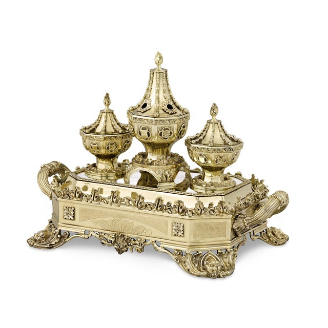 The unbridled boldness of William IV-period silver design is on full display in this grand silver gilt inkstand by William...