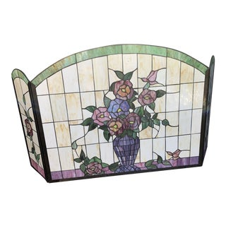 Floral Motif Leaded Stained and Slag Glass Fire Screen For Sale