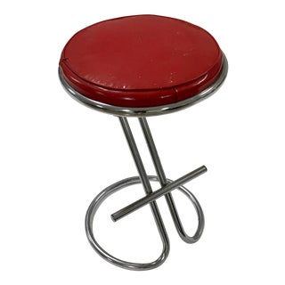 Gilbert Rohde Tubular Steel and Red Vinyl Z Stool For Sale