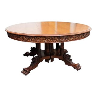 20th Century Victorian Carved Oak Dining Table