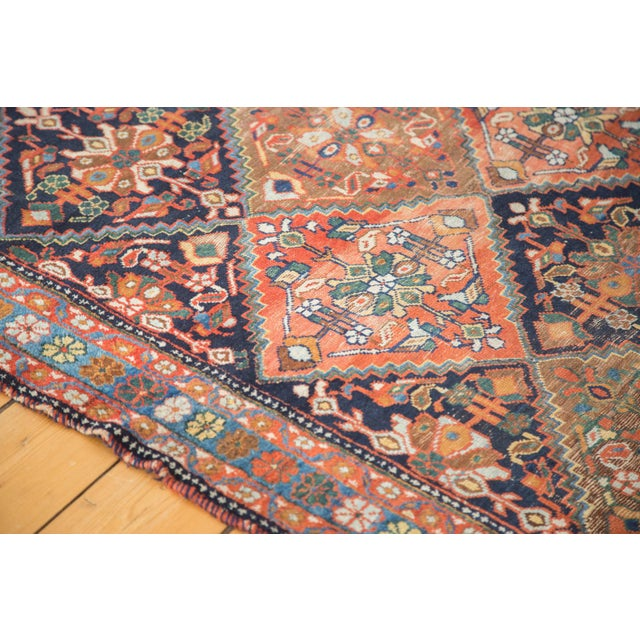 "Antique Distressed Afshar Square Rug - 4'4"" X 5'7"" - Image 7 of 9"