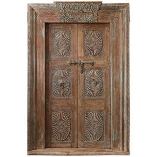 Mid 19th Century Vintage Teak Wood Highly Carved Entry Door For Sale