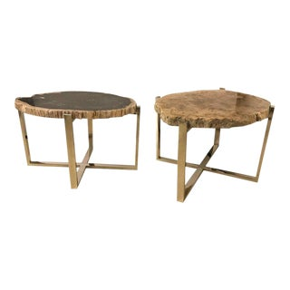 Marble Chrome Based Hollywood Regency Style Side End Tables - a Pair