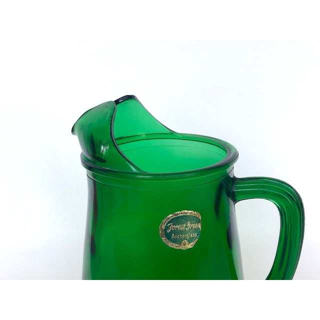 Vintage Anchor Hocking Forest Green Glass Pitcher For Sale - Image 10 of 12