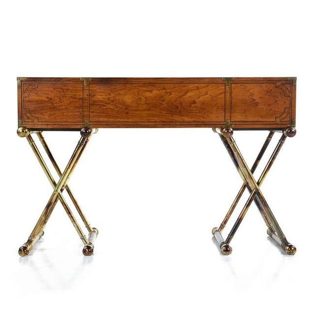 1970s Oxford Square by Drexel Faux Brass Leg Campaign Style Tambour Roll Top Desk For Sale - Image 5 of 13