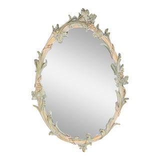 1980's Vintage Ornate Oval Mirror For Sale