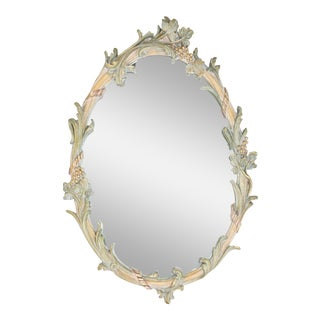 Vintage Ornate Oval Mirror - Vine Motif For Sale
