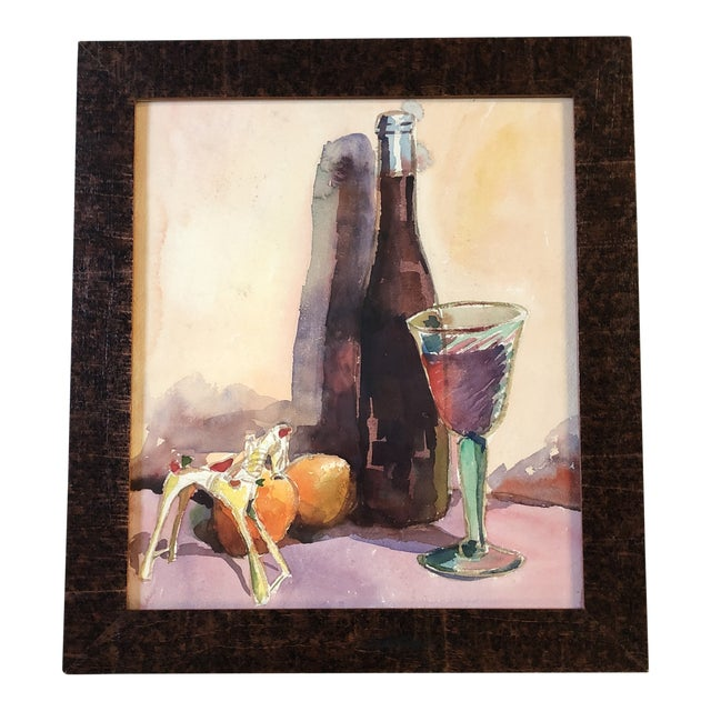 Vintage Original Still Life Watercolor Painting Mid Century For Sale