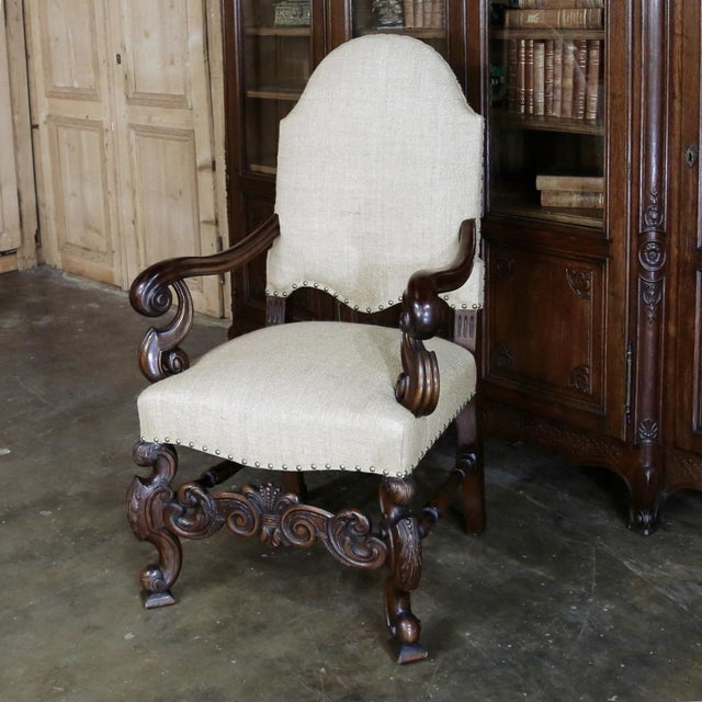 French 19th Century French Walnut Louis XIV Armchair For Sale - Image 3 of 13