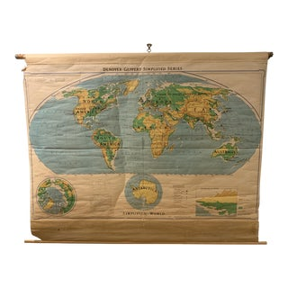 1953 Vintage Pull Down Denoyer Geppert Map of the World For Sale