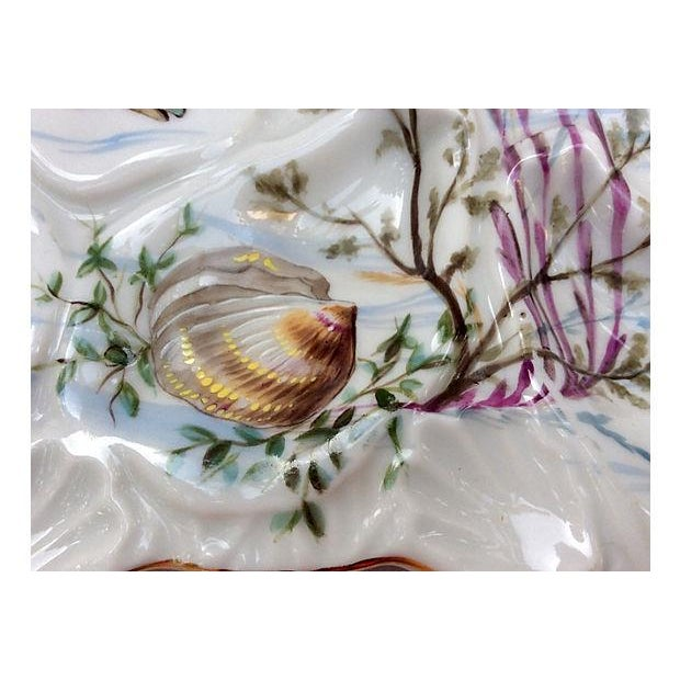 Hand-Painted French Oyster Plate - Image 4 of 8