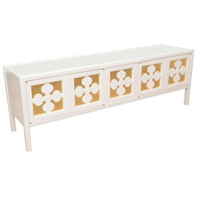 Mid-Century Modern White Lacquered and Gold Leaf Sideboard Cabinet Final Markdown For Sale - Image 11 of 11