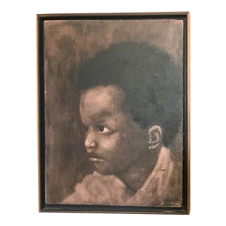 Original 1980s Sepia Tone Portrait Painting of a Young Boy - Signed by Artist For Sale