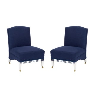 Casa Cosima Sintra Chair in Cadet Blue Linen, a Pair For Sale