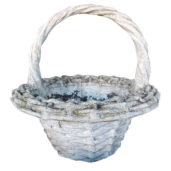 A Boldly-Scaled French Faux Basket-Weave Concrete Jardiniere For Sale