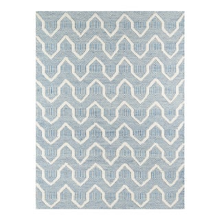 "Erin Gates by Momeni Langdon Prince Blue Hand Woven Wool Area Rug - 3'9"" X 5'9"" For Sale"