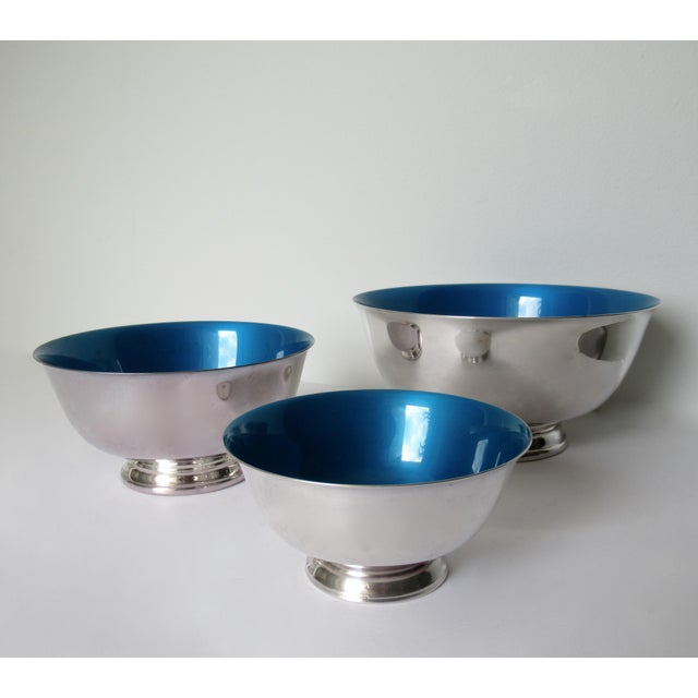 Reed & Barton Reed & Barton Silver Plate Bowls With Peacock Blue Enameled Interiors -Set of 3 For Sale - Image 4 of 13