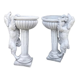 Stone Planter/ Fountain Retrievers - A Pair For Sale