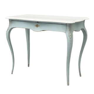 Early 20th Century Rococo Blue Painted Writing Desk For Sale