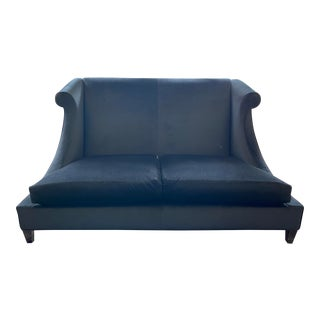 Black Mohair Sofa From Baker Furniture For Sale