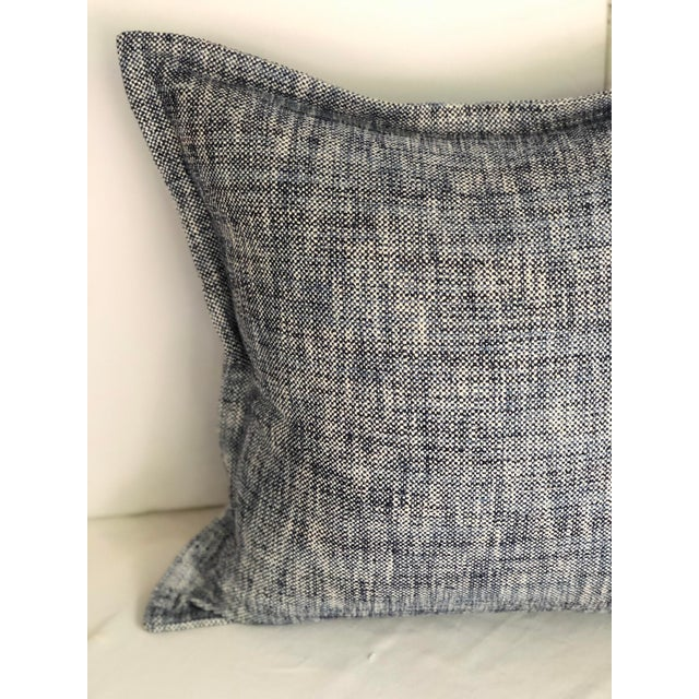 """Fun pair of 20"""" square flange edge pillows by Jim Thompson. The fabric is a cotton tweed blending white, navy, and blue..."""