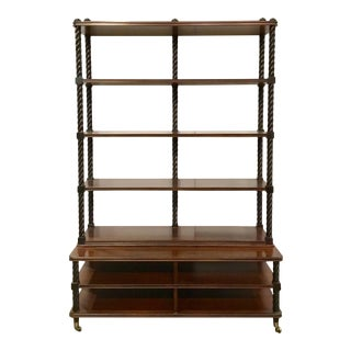 Caracole Transitional Two Toned Barley Twist Bookcase/Etagere For Sale
