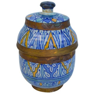 Moorish Ceramic Lidded Bowl With Brass For Sale