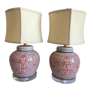 Chinese Porcelain Ginger Jar Lamps - a Pair For Sale