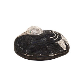 Judith Leiber Black and Silver Swarovski Crystal Sitting Duck Minaudiere For Sale