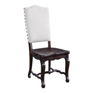 Glendale Carved Wood Saddle Side Dining Chair For Sale