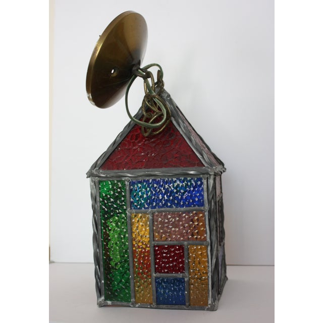 Vintage Stained Glass Pendant - Image 2 of 4