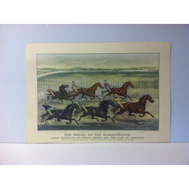 "Currier & Ives Color Print, ""The Brush on the Homestretch"", 1955 For Sale - Image 4 of 4"
