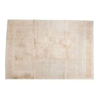 Vintage Distressed Kashmir Silk Carpet - 7' x 10'1""
