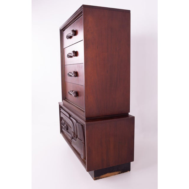 1960s Mid Century Witco Style Oceanic Brutalist 6 Drawer Gentlemans Chest For Sale - Image 5 of 11