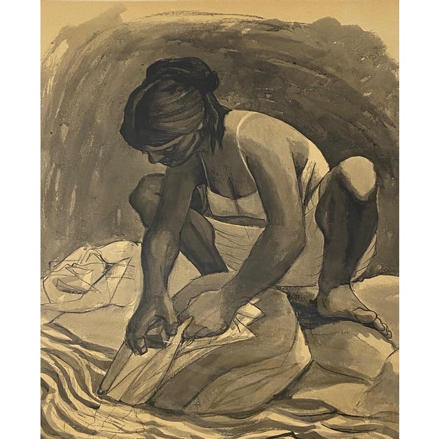 """Mid Century Modern Watercolor """"Washing Clothes"""" Puerto Vallarta by Daniel C.1957 For Sale"""