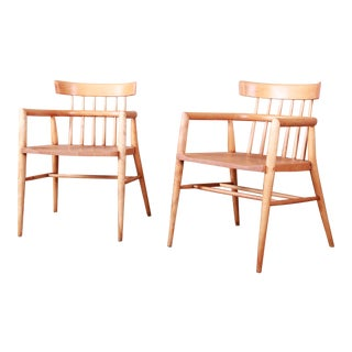 Paul McCobb Planner Group Solid Maple Spindle Back Armchairs - a Pair For Sale