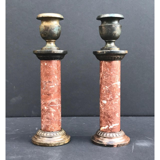 19th Century Antique 19th Century Grand Tour French Neoclassical Candlesticks - a Pair For Sale - Image 5 of 8