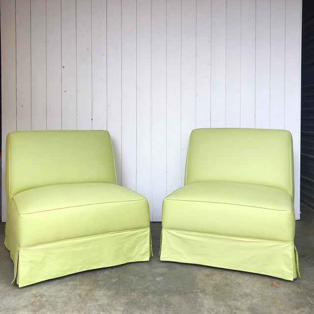Vintage Custom Made Skirted Lounge Chairs in New Chartreuse Fabric - a Pair For Sale - Image 11 of 11