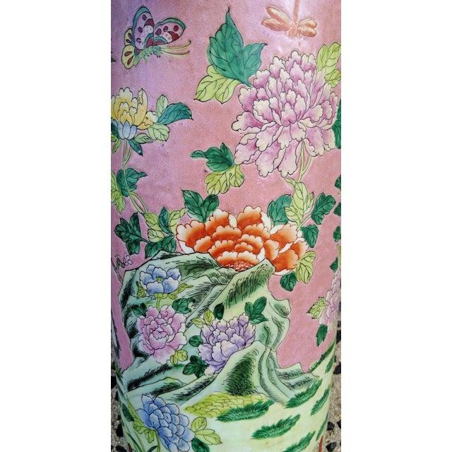 Ceramic Vintage Chinese Famille Rose Medallion Porcelain Umbrella Stand For Sale - Image 7 of 11
