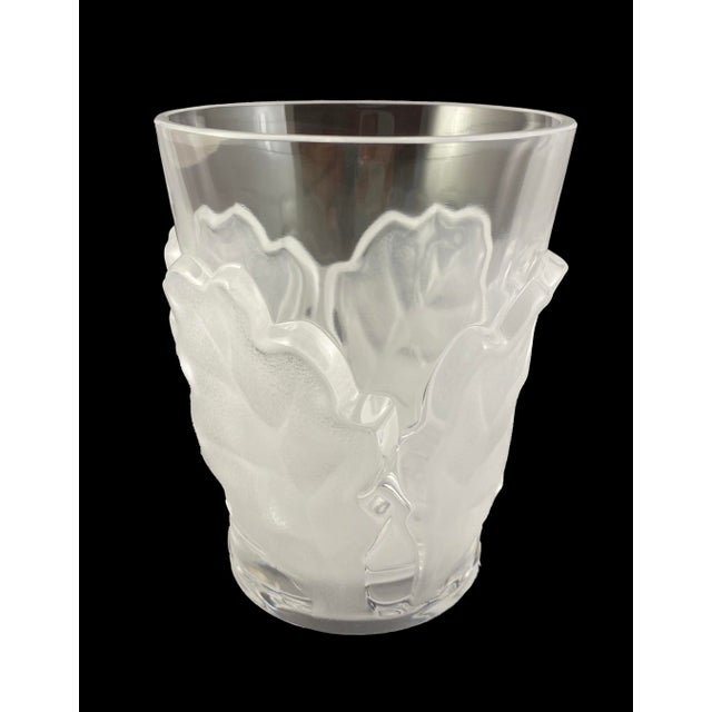 One Double Old Fashioned Crystal Tumbler by Lalique in the Chene Pattern Etch Signed Lalique France in excellent...