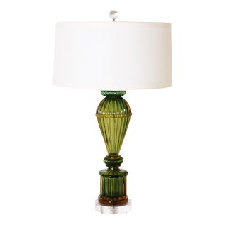 Seguso Green and Amber Lamp, C. 1950 With Shade For Sale