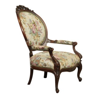Antique Victorian Carved Walnut Armchair For Sale