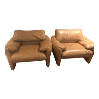 Vico Magistretti for Cassina Maralunga Lounge Chairs - A Pair