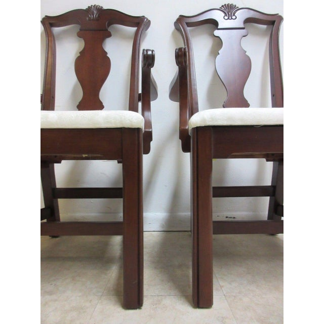 Cherry Wood Pennsylvania House Cherry Shell Carved Dining Room Arm Chairs - Set of 4 For Sale - Image 7 of 11