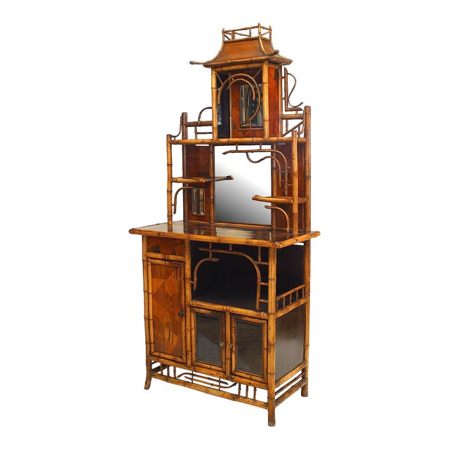 Bamboo and Inlaid Étagère With Pagoda Top For Sale