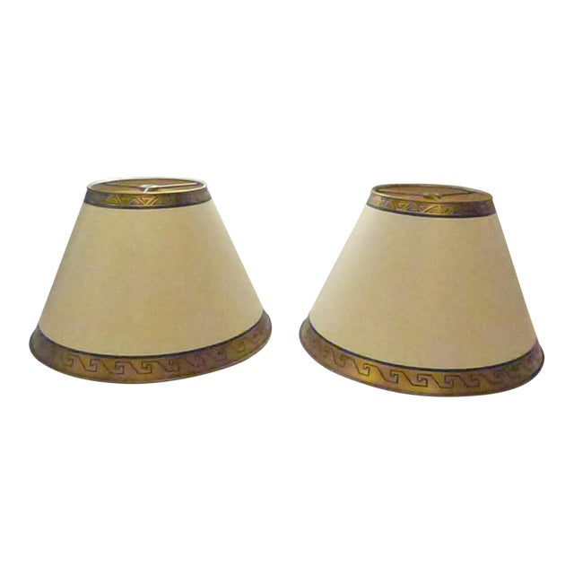 Custom Lamp Shades With Gold Greek Keys - a Pair For Sale